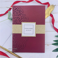 Wholesale luxury birthday invitation cards resale online - Luxury Burgundy Rose Laser Cut Pocket Wedding Invitations With Glitter Gold Belly Bands And Tags Customized Invite And RSVP card