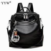 мех рюкзак черный оптовых-Пу кожаные сумки для мотоциклов для женщин 2018 черная девушка большой емкости рюкзак случайный рюкзак женская дорожная сумка меховая сумка
