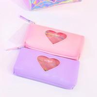 Wholesale transparent pen bag resale online - Mini Kawaii Diamond Love School Pencil Case Cute Laser Bag For Girls Large Pen Pouch Transparent Box Stationery Penal Penci W7E0
