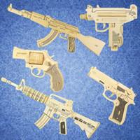holzpistole kinder großhandel-3d diy holz spielzeugpistole handwerk modell kinder spielzeug puzzle holzspielzeug holzpuzzle pädagogisches spielzeug für kinder