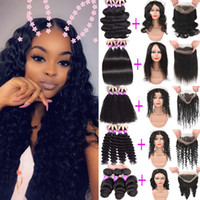 Wholesale Brazilian Virgin Remy Human Hair Bundles With Full Lace Frontal Unprocessed Human Hair Deep Wave Straight Kinky Curly With Closure