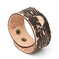 Wholesale faceted plastic resale online - 18 styles Classic Punk Rock Curb Cuban Faceted Men Geniune Leather Bracelets for Women Boy Male Gift Leather Wristband pksp8