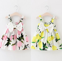 Wholesale chinese lemon for sale - Group buy Baby girl pink and yellow color lemon dress kids girls clothes strap bow knot dresses outfit years