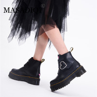 черные каблуки сердце оптовых-MASADIQI Platform Boots Women Buckle Strap High Heel Fashion Pink Heart  Boots Women Black Ankle Goth