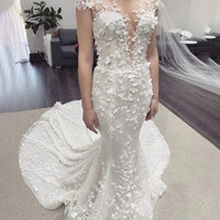 Wholesale sheer bodice backless fitted wedding dresses for sale - Group buy Gorgeous Mermaid D Floral Applique Wedding Dresses Cap Sleeves Illusion Neck Slim Fitted Modern Bridal Gowns Robe de mariage