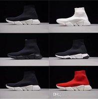 toile de texture achat en gros de-2018 Hommes Femmes INS balanciaga Designer Chaussures Paris Célèbre marque de luxe chaussures avec texture blanche semelle designer Chaussette Chaussures taille 36-46