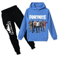 Wholesale sports clothes for boys for sale - Group buy Teenmiro Fortnite Kids Clothes Set For Boys Girls Spring Children Sport Suit Teenagers Hooded Sweatshirt Pants Battle Royale Child Tracksuit