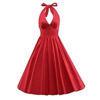 xl klas elbiseler toptan satış-iLover Classy Vintage Audrey Hepburn Stili 1950'lerin Rockabilly Salıncak Abiye