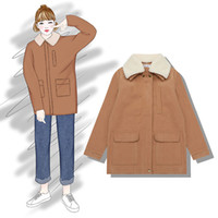 casacos de mulheres de moda de inverno coreano venda por atacado-Inverno estilo coreano cordeiro cordeiro casaco de lã feminino curto doce estudante casaco 2019 nova moda feminina roupas para adultos