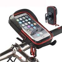 phone holder bicycle toptan satış-Bisiklet Bisiklet Ön Gidon Su Geçirmez Telefon Kılıfı Dokunmatik Ekran Montaj Tutucu Çanta GPS Cep Telefonu Büyük Kalite