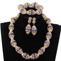 königliche blaue rhinestoneohrringe großhandel-Verzieren Sie Royal Blue Strass African Gold Perlen Halskette Schmuck Nigeria Hochzeit Perlen Halskette Ohrringe Armband P84-3