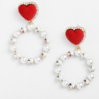 Wholesale mother pearl ship for sale - Group buy designer jewelry pearl charm earrings circle round red heart pendnat earrings for women hot fashion free of shipping