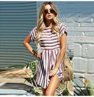 mini pembe plaj elbisesi toptan satış-Kadın Yaz Plaj Elbise A-line Çizgili Kısa Kollu O-Boyun Baskı Elbiseler Rahat Pembe Mini Stil Elbise Seksi Sundress