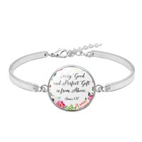 Wholesale james jewelry for sale - Group buy Christian Jewelry Bible Verse Bracelet Every Good and Perfect Gift Is From Above James Glass Inspirational Quote Bracelet