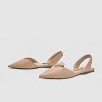spitzige nackte wohnungen großhandel-2018 sommer Neue Schuhe Damenmode Marke Sandalen Dame spitz Toe Wohnungen Silp Auf Weibliche chaussure Girl footware Nude