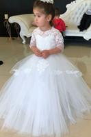 vestidos blancos del desfile para la venta al por mayor-3/4 de manga larga vestido de bola de tul flor vestidos de las muchachas blanco de encaje de la fiesta de bodas de princesa Kids Pageant comunión cumpleaños moda mejor venta