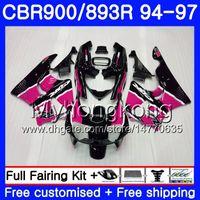 1996 honda cbr pink fairings toptan satış-HONDA CBR900RR CBR 893RR 1994 1995 1996 1997 1997 Vücut 1997 için Kit Vücut Geliştirme