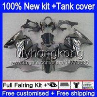 kawasaki ninja ex fairing toptan satış-+ KAWASAKI EX250 ZX250R EX250R ZX250R EX250 201MY.74 EX için Tankı 250 ZX 250R 08 09 10 11 12 2008 2009 2010 2011 2012 Gümüş alevler Fairing