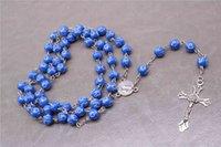 plastikperlenketten großhandel-8 mm Halskette aus Kunststoffperlen, ein Kreuz aus dem Rosenkranz Ketten und Halsketten, Jesus Christus vom Kreuz Benedict Anhänger Ketten und Halsketten