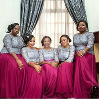 Wholesale green nigerian wedding dresses plus size resale online - Gray And Fuchsia Plus Size Bridesmaid Dresses South African Lace Long Sleeve Chiffon Long Nigerian Maid Of Honor Gowns Wedding Party Dress