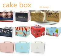 Wholesale biscuit designs for sale - Group buy 20 Designs Portable Cake Carriers With Cork Base Inch Inch Handle Bakery Cake Boxes Pastry Biscuit Mousse Bread Cookies Packaging Boxes