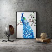обрамление 3d картины оптовых-Печать холст Картина подставил Плакат Ручная вышивка Современные синий павлин 3D панель стены искусства плаката для гостиной украшения