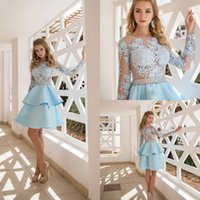 Wholesale satin lace dress burgundy knee length resale online - 2020 Light Blue Cocktail Dresses Long Sleeves See Through Appliqued Occasion Prom Evening Gowns Knee Length Tiered Ruffles Women Party Wear