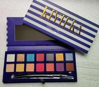neueste make-up großhandel-Neueste Marke 14 Farben Lidschatten-Palette RIVIERA Lidschatten-Schimmer Matte Beauty Makeup Lidschatten-Paletten mit Pinsel
