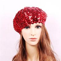 payet berber şapkaları toptan satış-Kadın moda payetler bere şapka bayanlar sihirli renk değişikliği performans sahne şapka renklerin çeşitli isteğe bağlı