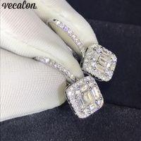brincos de prata reais para mulheres venda por atacado-Vecalon elegante lady dangle brinco de diamante real 925 brincos de prata esterlina festa de casamento para as mulheres de jóias de noiva