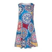 vestidos de grife floral one piece venda por atacado-Designer de verão mulheres vestidos sexy beach dress impresso mangas floral dress senhoras uma peça roupas coloridas