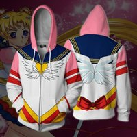 anime cosplay kostüme seemann mond großhandel-Asiatische Größe Anime 3D Cartoon SAILOR MOON Reißverschluss Cosplay Kostüm Langarm Mantel Freizeitjacke Sweatshirts Hoodies