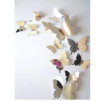 ingrosso adesivi gialli della farfalla-12 pz / set adesivi murali specchio decal farfalle 3d specchio wall art casa decori farfalla frigo decalcomania in vendita 9.25