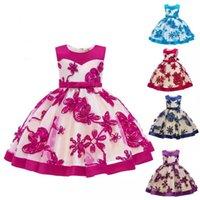 ingrosso bambino caldo coreano-Baby dress Abbigliamento fotografico Blue Patchwork Princess Dress Sleeveless Bow Edizione coreana Hot money Open season 4