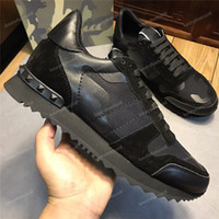 Wholesale light dress shoes resale online - Fashion Luxury Designer Mens Womens Shoes Sneakers Rivets Camouflage Comfort Platform Casual Shoes High Quality Trainers Dress Sneakers