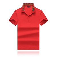 Wholesale men polo wears resale online - 19SS Summer Men s Wear Designer T shirt Collar Tiger Embroidery Lapel Designer Polo Men s Wear Red Blue Black Three Options