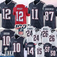 england patrioten großhandel-12 New England Tom Brady Patriot 11 Julian Edelman 87 Rob Gronkowski Josh Gordon Jersey Stephon Gilmore Sony Michel Chris Hogan