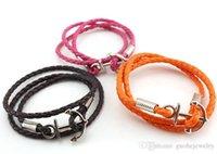pu diy armbänder großhandel-Neue Armbänder für Frauen Marine-Retro Mehrschichtankerarmband DIY Qualitäts-PU-Armband geben Verschiffen frei
