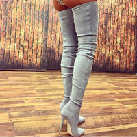 Wholesale womens faux leather dresses resale online - 10 CM Heels Women Shoes Dress Over Knee Winter Boots Woman Faux Suede Leather Boot Womens Thigh High Boots Ladies Snow Shoe