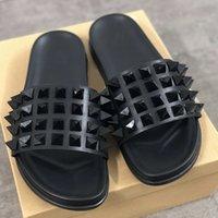 Wholesale soft bottom slippers resale online - International brand men s designer red bottom nail slippers leather sandals luxury summer flat bottom flip flops large