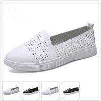 kore slip ayakkabıları toptan satış-Kadın ayakkabı Hakiki Deri düz ayakkabı rahat hollow slip-on Kore gelgit öğrenciler set ayak düz