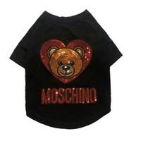 camisas do cão do algodão venda por atacado-Dog Cotton T-shirt com logotipo de Luxo Roupa Pet externas com Lantejoula Urso Verão Adorável Teddy Bulldog Schnauzer Vestuário
