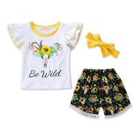 bebek çiçek kafa bandı toptan satış-Ins yeni Yaz kız bebek giysileri Kız Kıyafetler Bebek Suit 3 adet T gömlek Tops + çiçek şort + yaylar kafa Çocuklar Setleri çocuklar giysi tasarımcısı A4936