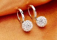 Wholesale silver shamballa pendant resale online - Shamballa full diamond ball Korean fashion diamond earrings ear jewelry