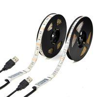 led-streifen computer großhandel-5V USB LED Streifen 1M 2M 3M 4M 5M SMD 3528 RGB Flexible LED Tape Lichter für TV Auto Computer Zeltbeleuchtung