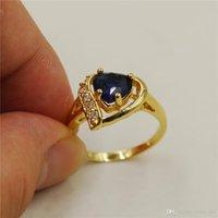 gelbgold herzringe großhandel-Nlm99 Femme neue Ankunfts-Weinlese-18K gelbes Gold füllte Herz-Art-blaue Saphir Zircon Hochzeit Ringe für Frauen