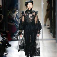 sehen sie kleider für frauen groihandel-Runway Kleid Für Frauen 2019 Sexy Durchsichtig Schwarz Spitze Patchwork Langes Kleid Frauen Elegante Rüschen Bogen Maxi Kleid