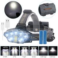lanterna farol principal recarregável venda por atacado-Farol recarregável USB 80000lm Farol 2 * T6 + 5 * Q5 + 1 * COB LEVOU Cabeça Lâmpada Lanterna Tocha Cabeça Lanterna de Luz 18650 Bateria