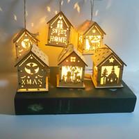 Wholesale mini wooden christmas tree decorations resale online - New Christmas tree wooden pendant LED cabin mini light snow house night light children Christmas gift SZ502