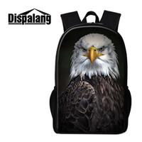 ingrosso logo animale logo-Black Eagle Logo High Fashion Bagpack for Men Cool Animal Stampa Borsa vintage per studenti universitari Progetta il tuo zaino